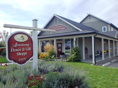 The front of Armstrong Flower & gift Shoppe located in Armstrong, BC.